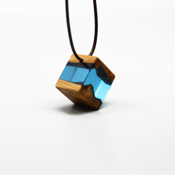 Wood Resin Pendant Necklace Handmade Unique Jewelry For Women Men