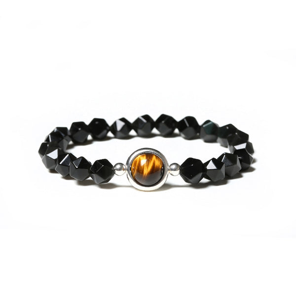Sterling Silver Faceted Obsidian Agate Tigereye Bead Bracelet Jewelry Women Men