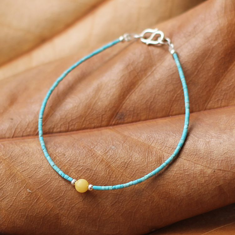 Sterling Silver Turquoise Amber Bead Bracelet Handmade Jewelry Accessories Women