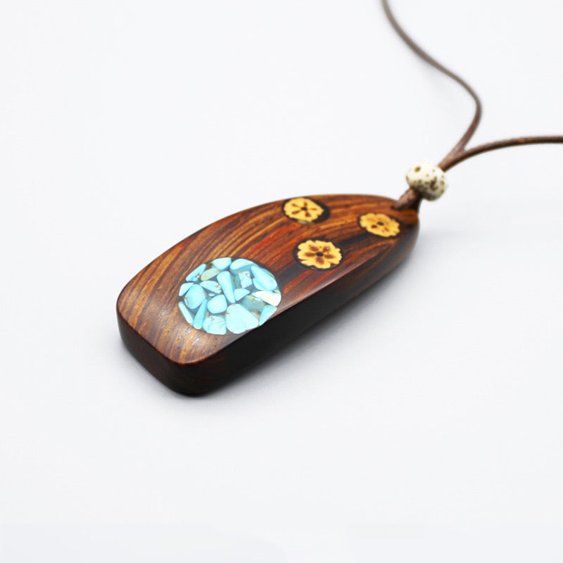necklace jewelry handcrafted Wood and resin pendant