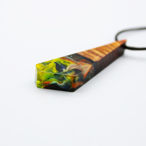 Geometrical Wood and Resin Pendant Necklace Handmade Unique Jewelry For Women Men