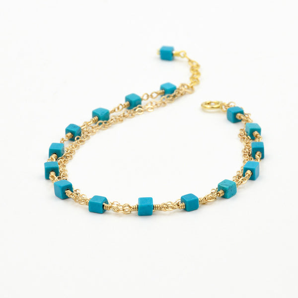 Turquoise Bead Bracelet in 14K Gold Handmade December Birthstone Jewelry Accessories Women
