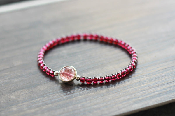 Sterling Silver Garnet Strawberry Quartz Beaded Bracelet Unique Handmade Jewelry Women