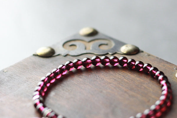 Sterling Silver Dream Catch Garnet Beaded Bracelet Handmade Jewelry for Women