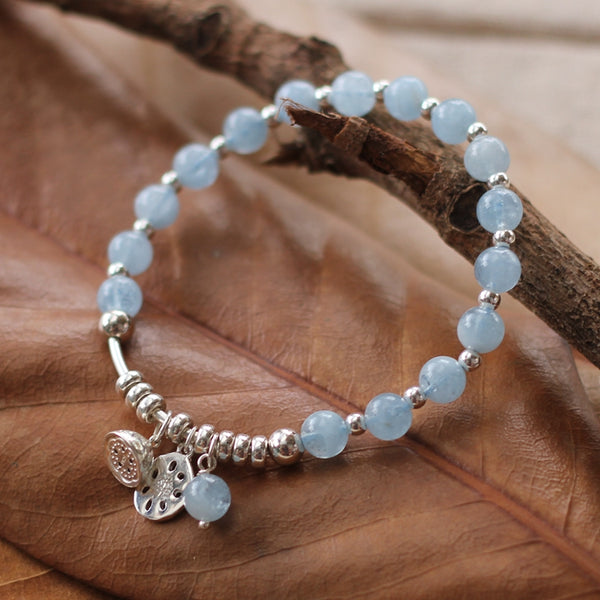 Sterling Silver Aquamarine Beaded Bracelet Handmade Jewelry for Women