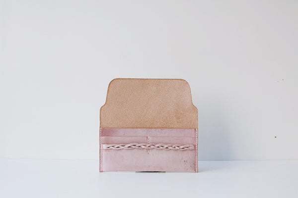 Pink Leather Womens Clutch Wallet Slim Leather Wallets for Women