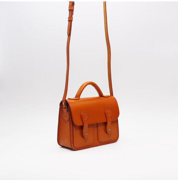 Womens Brown Leather Satchel Bag Handmade Crossbody Bag for Women