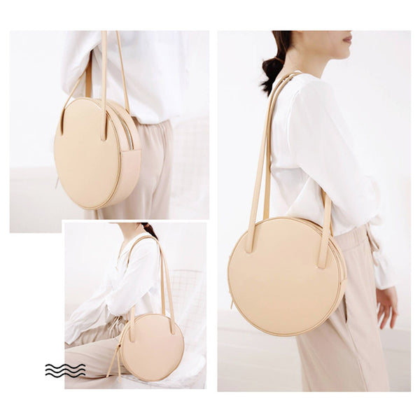Cute Leather Womens Shoulder Bag Circle Handbags for Women