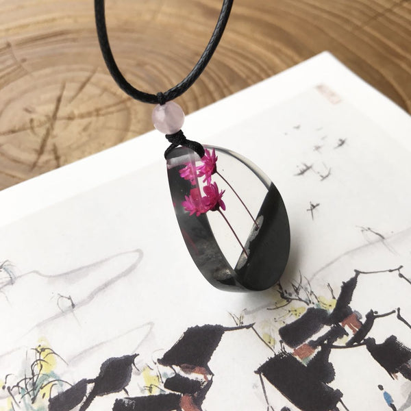 Herbage Resin Wood Pendant Necklace Handmade Jewelry Gift Women