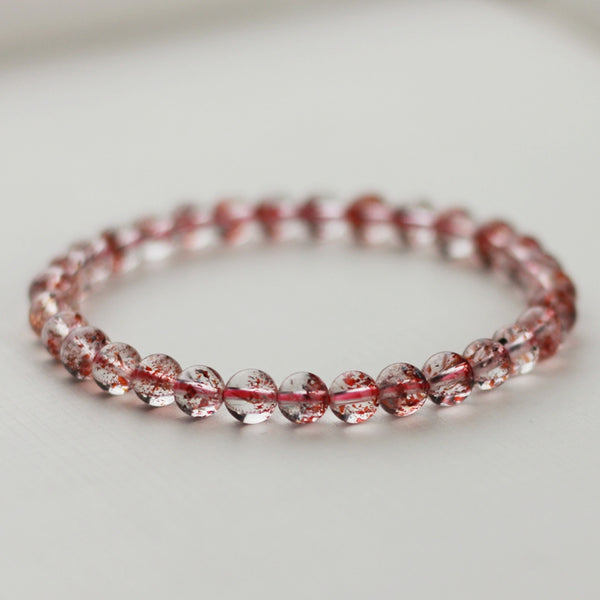 Strawberry Quartz Crystl Beaded Bracelet Handmade Jewelry for Women