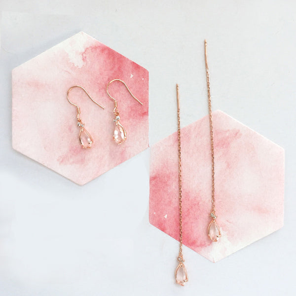 Rose Quartz Drop Earrings Threader Earrings Gold Plated Silver Jewelry For Women