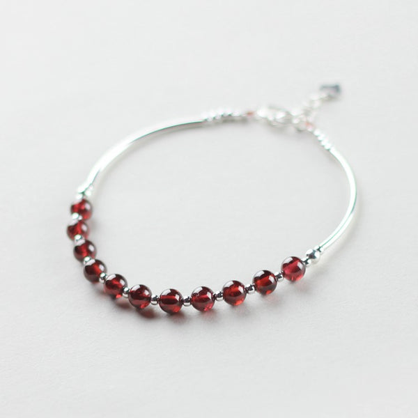 Sterling Silver Garnet Beaded Bracelet Handmade Jewelry January Birthstone for Women