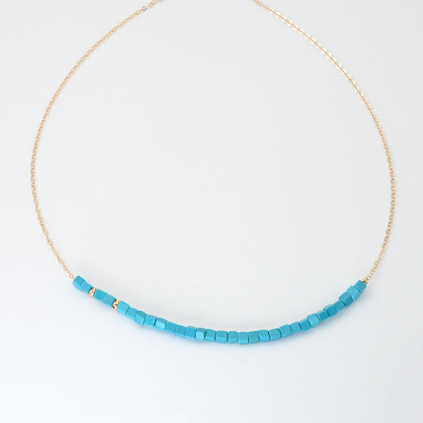 Turquoise Bead Pendant Necklace in 14K Gold Handmade Jewelry Women Accessories