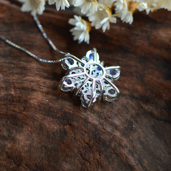 Moonstone Snowflake Pendant Necklace in Sterling Silver Jewelry Accessories For Women