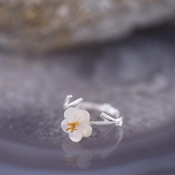 Shells Flower Ring in Sterling Silver Handmade Jewelry Accessories Women