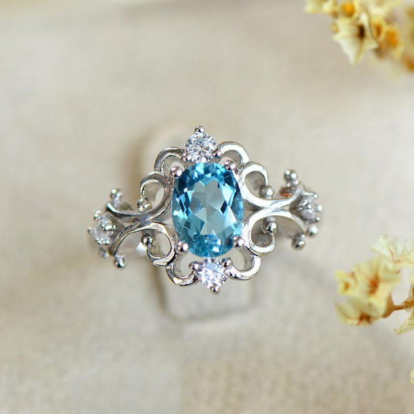 Blue Topaz Gold Silver Ring November Birthstone Handmade Jewelry WOMEN