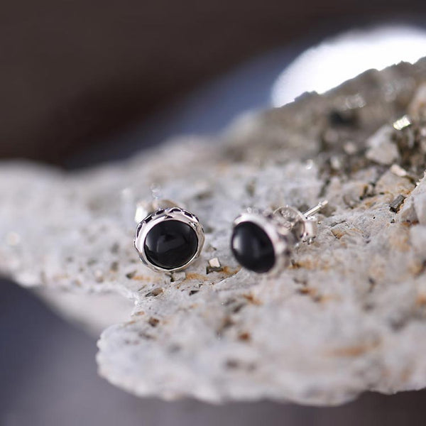 Vintage Onyx Stud Earrings in Sterling Silver Jewelry Accessories Gifts For Women Men