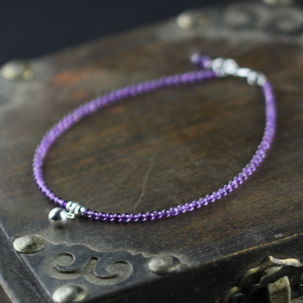 Sterling Silver Amethyst Beaded Anklet Handmade Jewelry Accessories Women