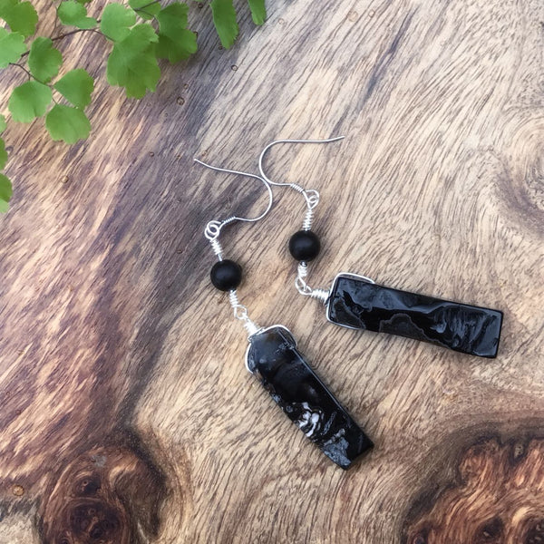 Handmade Raw Gemstone Onyx Drop Earrings in Silver Unique Jewelry for Women Men
