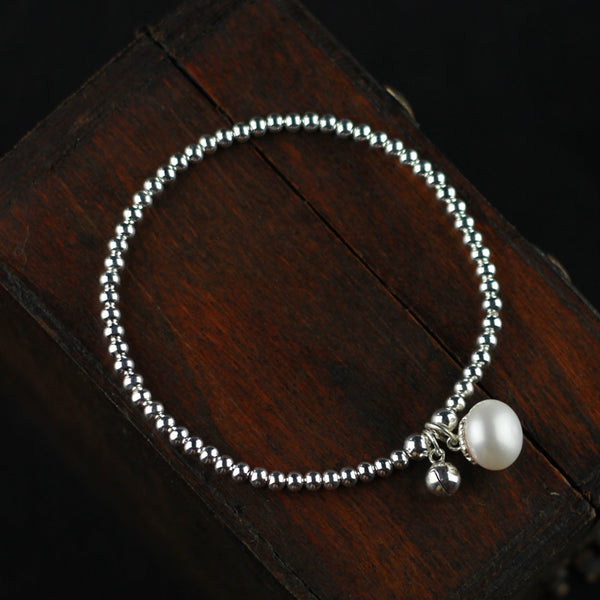 Freshwater Pearl Bead Bracelet in Sterling Silver June Birthstone Jewelry Gifts for Women