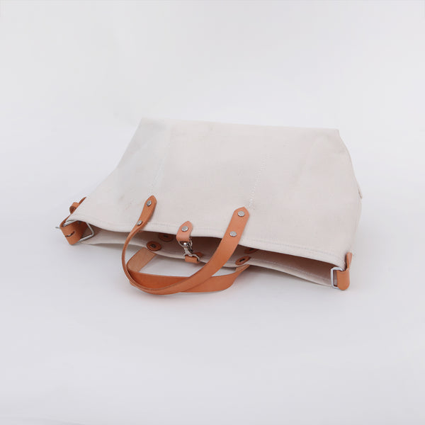 Handmade Canvas body with Leather hand handle Tote Bag Handbag Purse Women