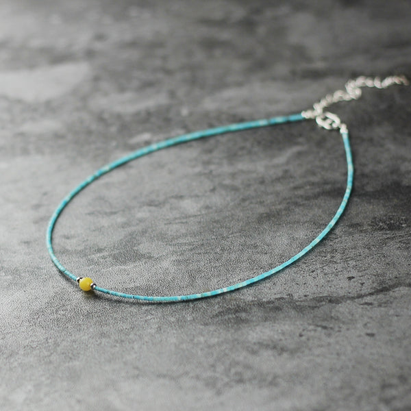 Sterling Silver Turquoise Amber Bead Choker Necklace Handmade Jewelry Women