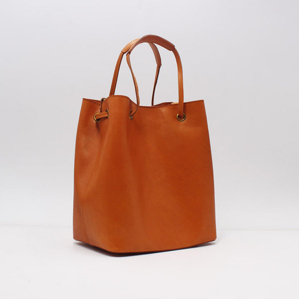 Handmade Vintage Leather Handbag Bucket Bag Purse Women