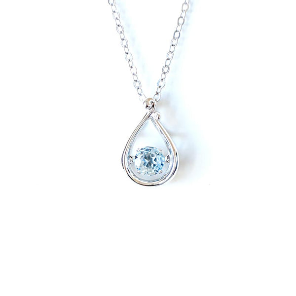 Blue Aquamarine Pendant Necklace in White Gold Plated Silver Women
