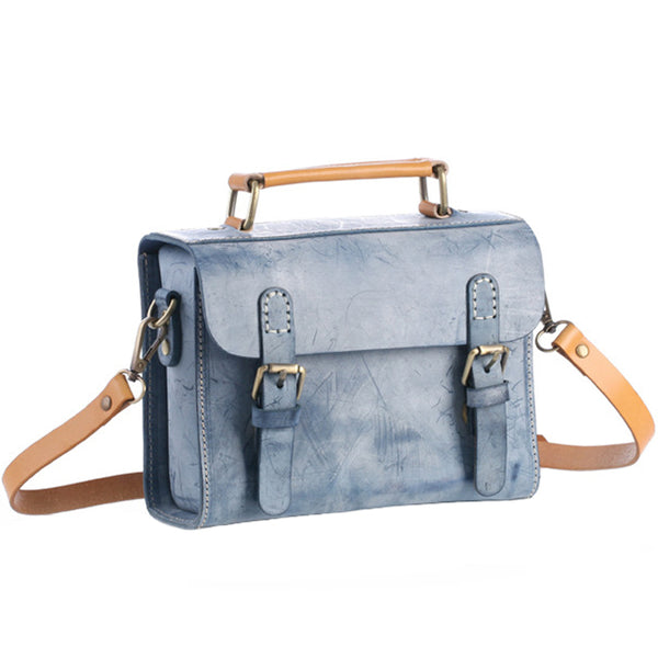Cute Women's Waxed Leather Crossbody Satchel Purse Messenger Bag For Women