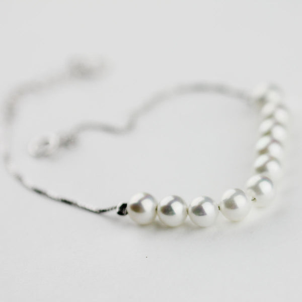 Freshwater Pearl Bead Bracelet in White Gold Plated Silver Chain Jewelry Gifts Women