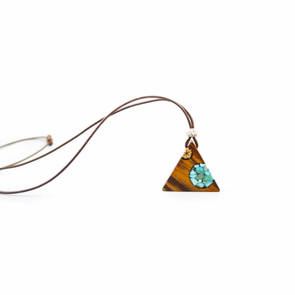 Turquoise Wood Resin Pendant Necklace Handmade December Birthstone Jewelry For Women Men