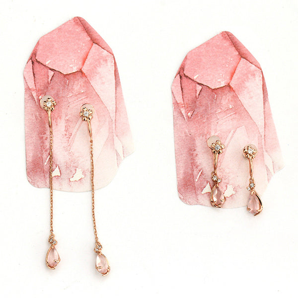 Rose Quartz Clip Earrings Drop Earrings Gold Plated Silver Jewelry For Women
