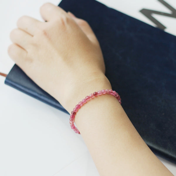 Red Tourmaline Tiny Bead Bracelet in Sterling Silver Handmade Jewelry Accessories Women