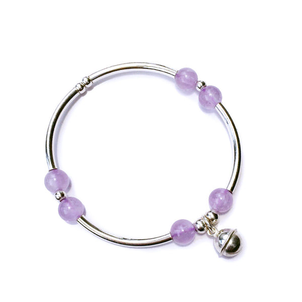 Sterling Silver Amethyst Beaded Bracelet Handmade Jewelry Accessories Women