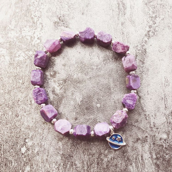 Raw Charoite Beaded Bracelet with Sterling Silver Handmade Jewelry Accessories Women