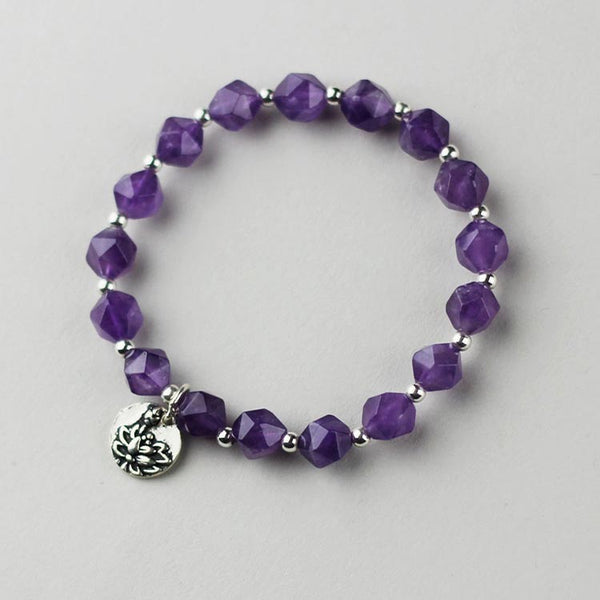Faceted Amethyst Beaded Bracelet with Sterling Silver Handmade Jewelry Accessories Women