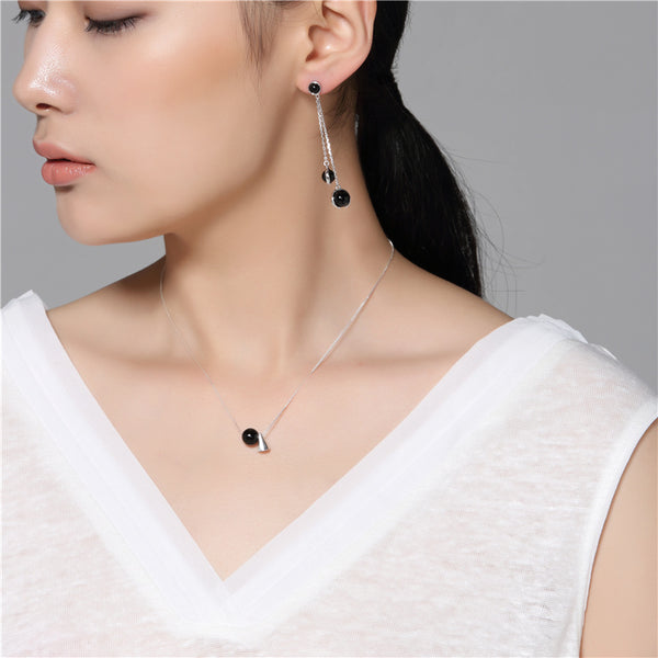 Geometric Onyx Pendant Necklace in Sterling Silver Unique Jewelry Gifts For Women men