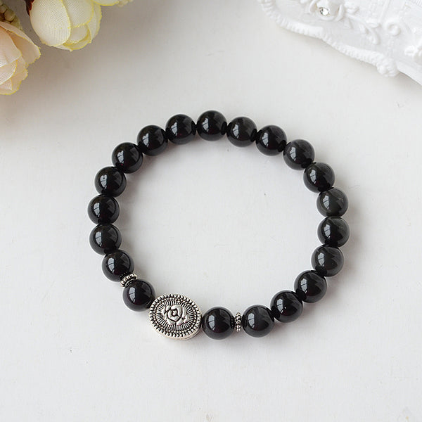 Obsidian Beaded Bracelet Handmade Jewelry Accessories for Women Men