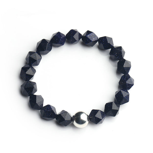 Sterling Silver Faceted Tigereye Blue Sandstone Bead Bracelet Jewelry Women Men