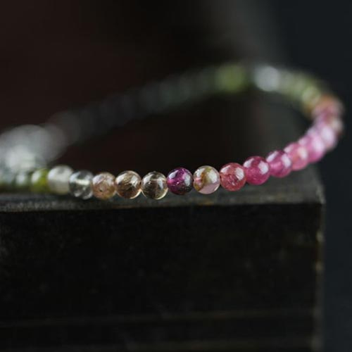 Sterling Silver Tourmaline Tiny Bead Bracelet Handmade Jewelry Accessories Women