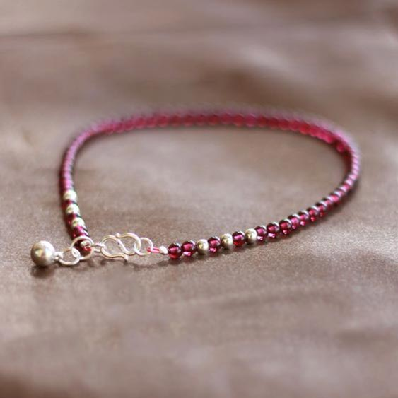 Sterling Silver Garnet Beaded Bracelet Handmade Jewelry for Women