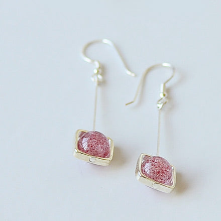 Strawberry Quartz Crystal Drop Earrings Sterling Silver Jewelry Accessories Women