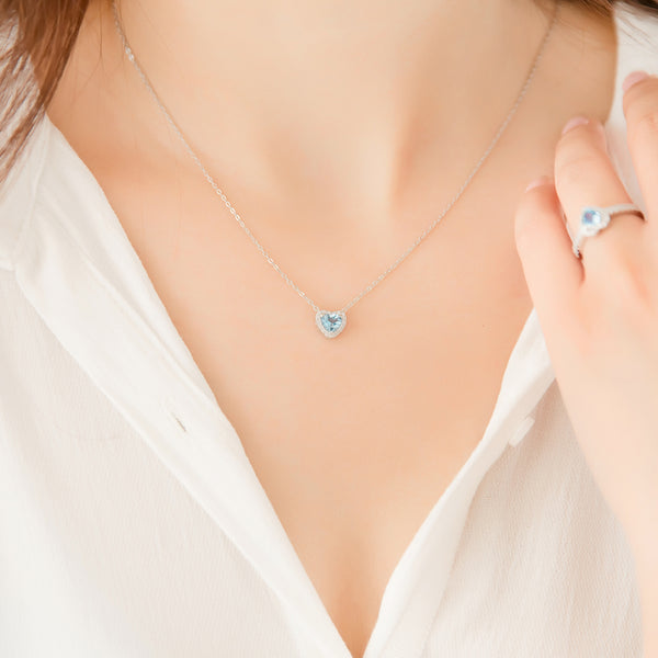 Blue Heart Aquamarine Pendant Necklace in White Gold Plated Silver Women