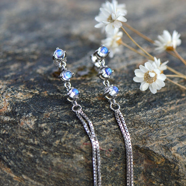 Moonstone Earrings in White Gold Plated Sterling Silver June Birthstone Jewelry For Women