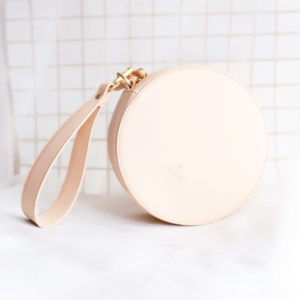 Simple Womens Leather Handbags Crossbody Circle Bags Purse for Women