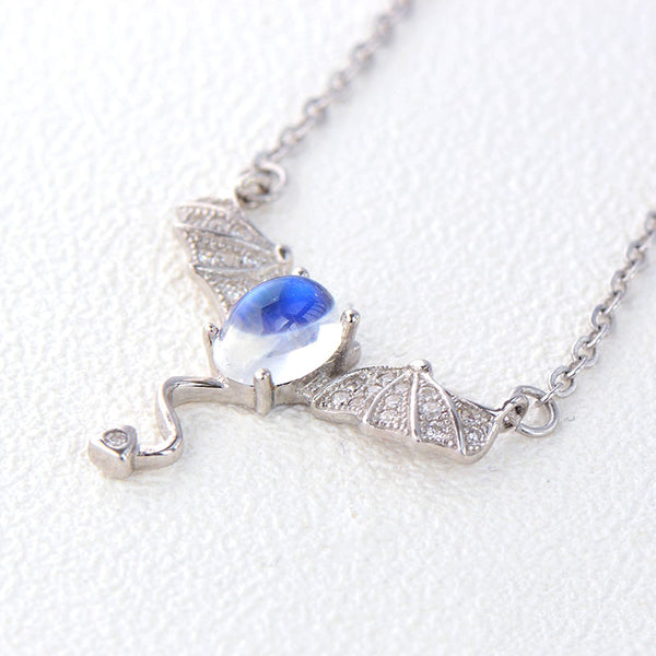 Moonstone Little Devil Pendant Necklace in White Gold Plated Silver Jewelry for Women