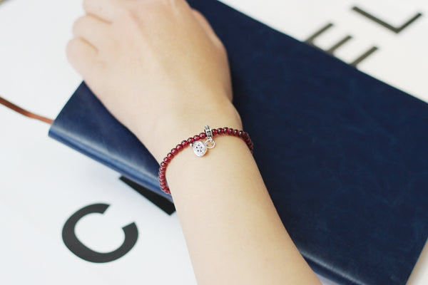 Sterling Silver Garnet Beaded Bracelet Handmade January Birthstone Jewelry for Women