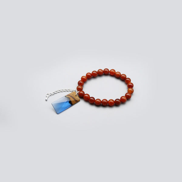 Agate Wood Resin Beaded Bracelet Handmade Unique Jewelry For Women Men