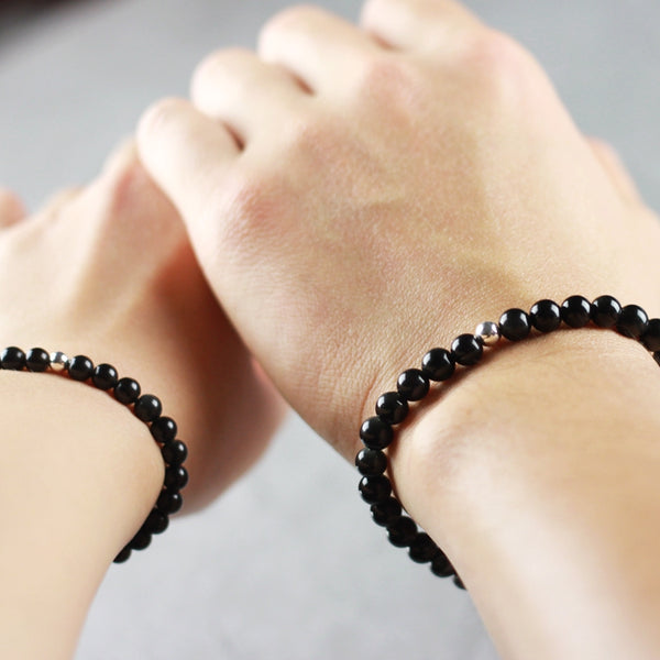 Sterling Silver Obsidian Bead Bracelet Handmade Lovers Jewelry Women Men