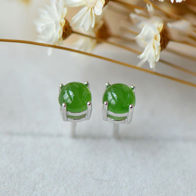 Green Jade Stud Earrings in Sterling Silver Handmade Jewelry Accessories Gifts for Women